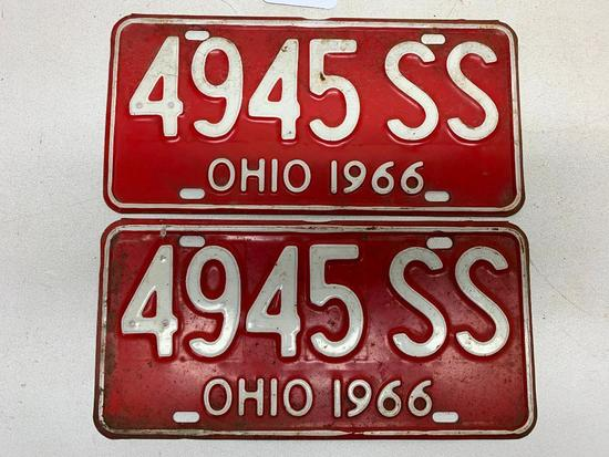Set Of 1966 Ohio License Plates