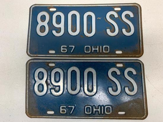 Set Of 1967 Ohio License Plates