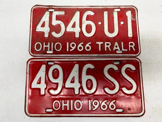 Set Of 1966 Ohio License Plates + 1966 Trailer Plate