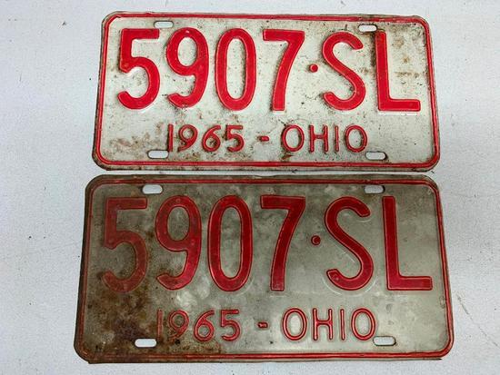 Set Of 1965 Ohio License Plates