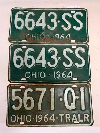 Set Of 1964 Ohio License Plates + Trailer Plate