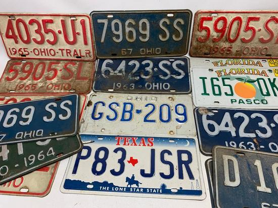 Group of 1963-1967 License Plates + Newer Plates From Texas & Florida