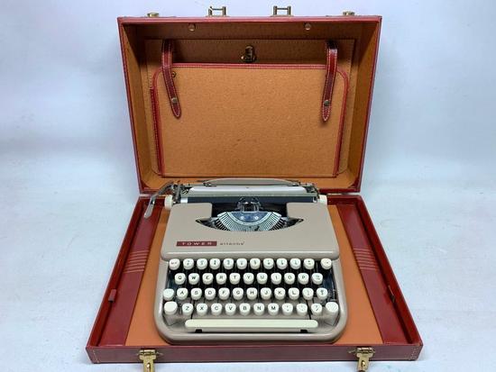 """Vintage """"Tower Attache'"""" Typewriter In Briefcase"""