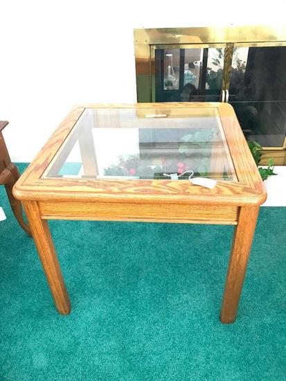 Solid Oak Table W/Glass Top