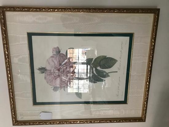 Pink & Yellow Roses Print is Matted & Framed