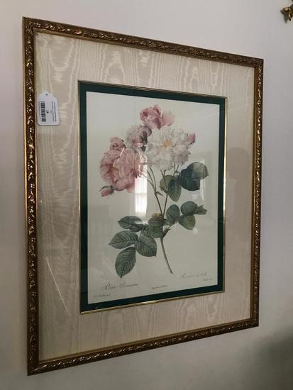 Pink Roses Print is Matted & Framed