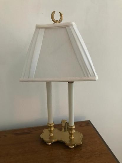 Brass Double-Stick Electric Lamp W/Shade
