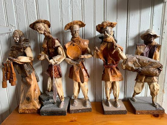 (5) Folk Art Paper Mache' Figures From Mexico