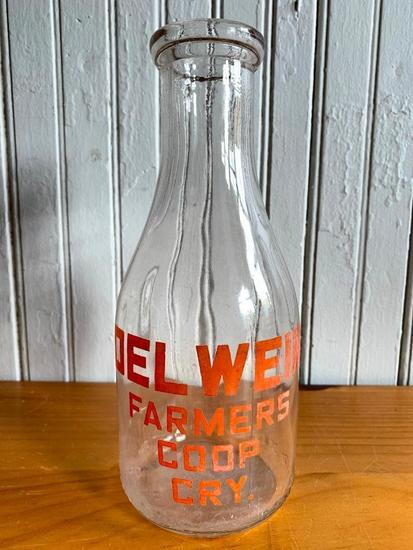 "Vintage ""Delwein Farmers Co-op Cry."" Qt. Milk Bottle"