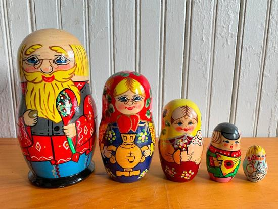 Wooden Folk Art Stack Dolls From Russia