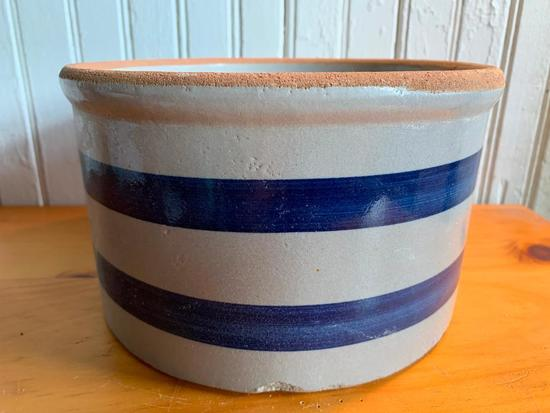 Contemporary Stoneware Crock W/Blue Bands