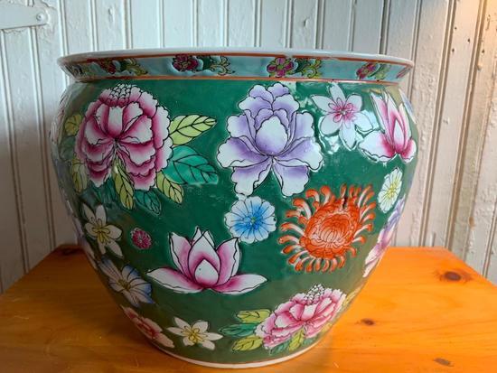 Porcelain Planter In Oriental Design W/Koi Fish