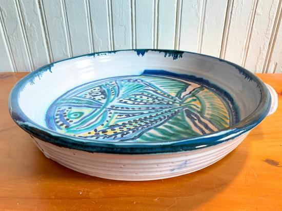 Hand Decorated Pottery Bowl W/Handles