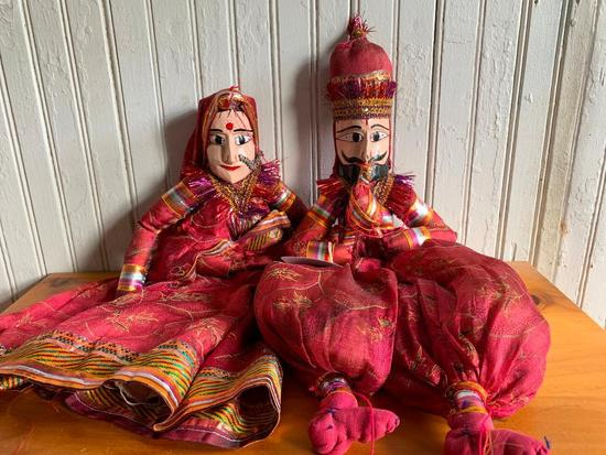 (2) Dolls W/Hand Painted Wooden Faces In Ethnic Clothing