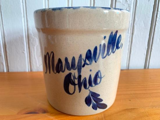 "Contemporary Decorated Stoneware W/ ""Marysville, Ohio"" In Cobalt"