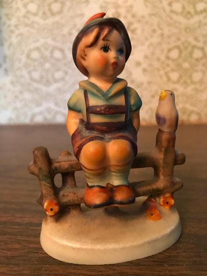 "Hummel Figurine: ""Boy On Fence"""