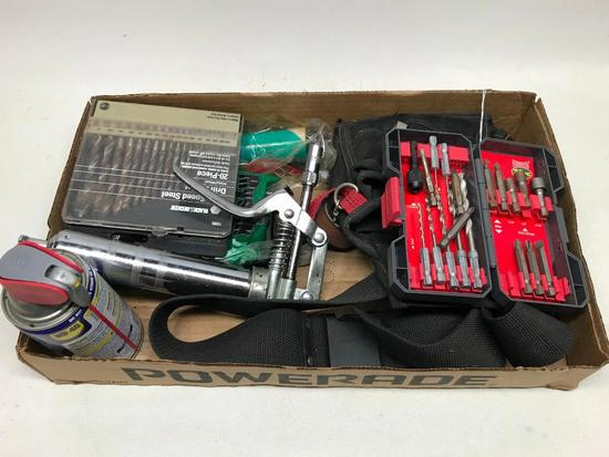 Tool Group W/Tool Belt, Drill Bits, Mini Grease Gun W/Grease, & More!