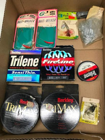 Group Of Fishing Lures & Line, & Related Items