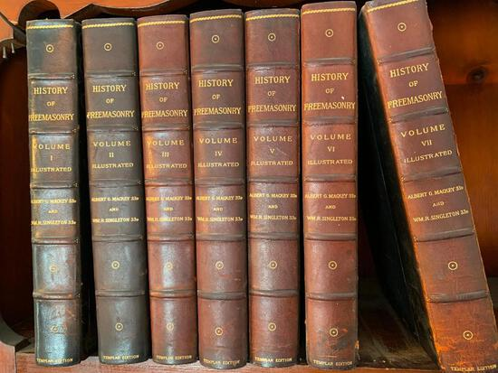 "(7) Volumes ""The History Of Freemasonry"" By A. Mackey & W. Singleton-Templar Edition"