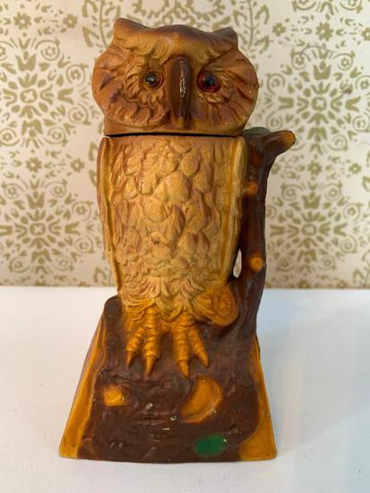 "Cast Iron ""Book Of Knowledge"" Mechanical Owl Bank"