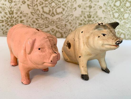 (2) Cast Iron Pig Banks