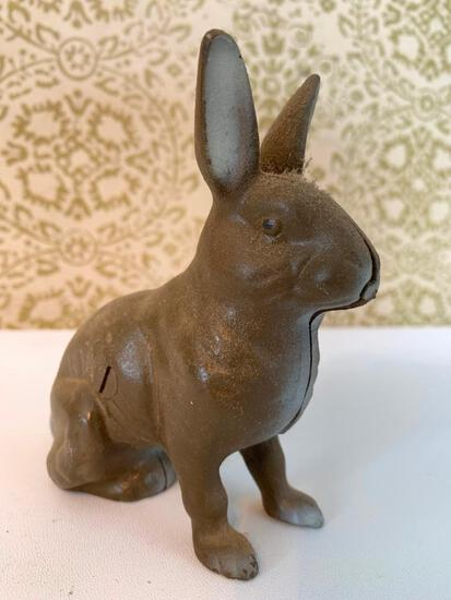Cast Iron Rabbit Bank