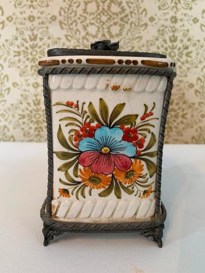 Vintage Lidded Container W/Pewter Lid