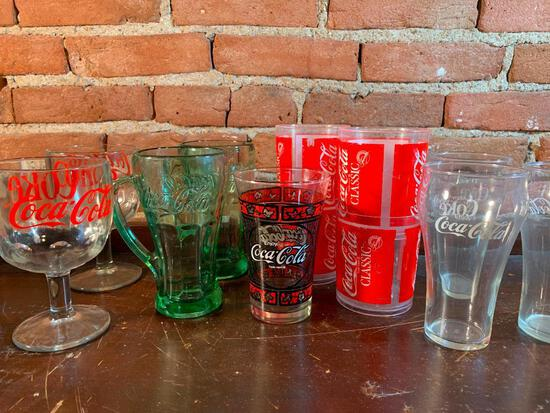 Group Of Various Coca-Cola Drinking Glasses