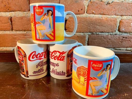 Set Of (4) Coca-Cola Handled Mugs