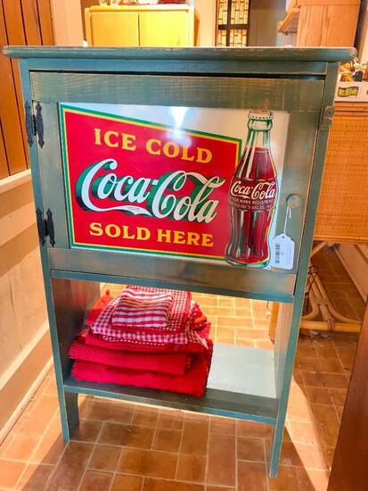 Contemporary Wooden Coca-Cola Stand W/Tin Sign
