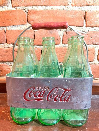 Vintage Aluminum Coca-Cola Carrier W/(6) Coke Bottles
