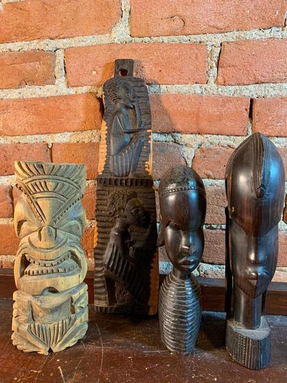 (4) Carved Ethnic Busts & Wall Decorations