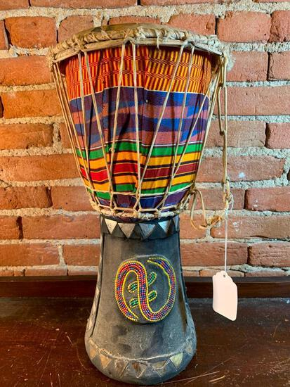 Hand Crafted Wooden Drum From Ghana, West Africa W/COA