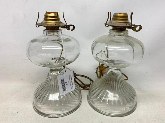 (2) Matching Electrified Oil Lamps-No Chimney's