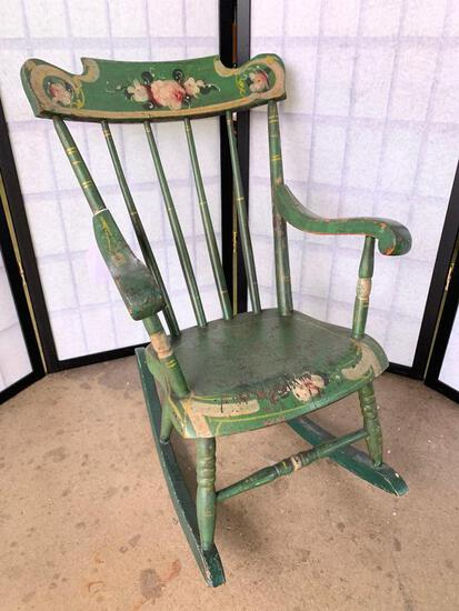 Antique Child's Boston Rocker In original Paint & Stenciling
