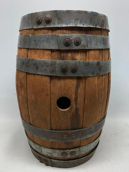 Antique Oak Barrel W/Bung Hole