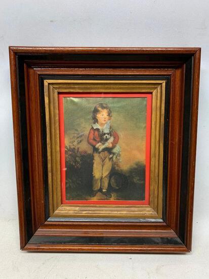 Victorian Walnut Picture Frame W/Print