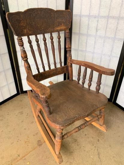 Antique Child's Press & Spindle Back Rocking Chair