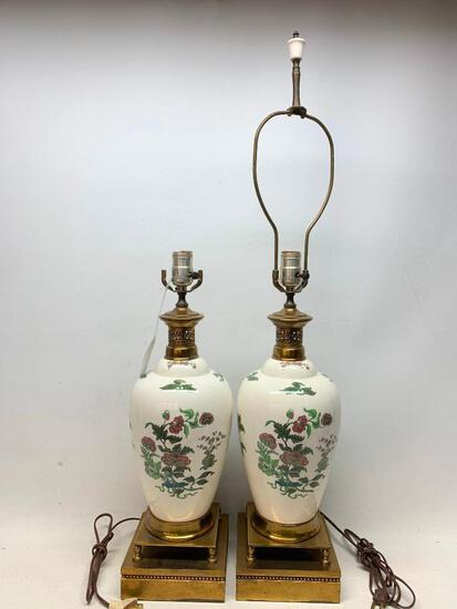 Vintage Matching Ceramic & Metal Lamps
