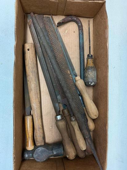 Nice Group Of Older Files, Rasps, & Hammer-Most W/Handles