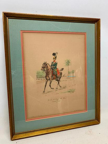 Vintage Framed Print Of French Military Officer