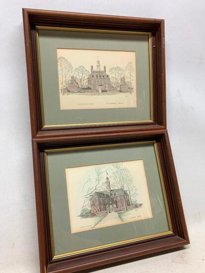 (2) Framed Williamsburg, Virginia Prints