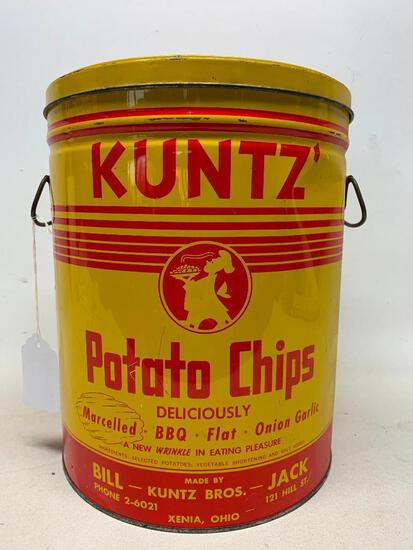 Vintage Kuntz' 2 Lb. Potato Chip Can W/Lid From Xenia, Ohio