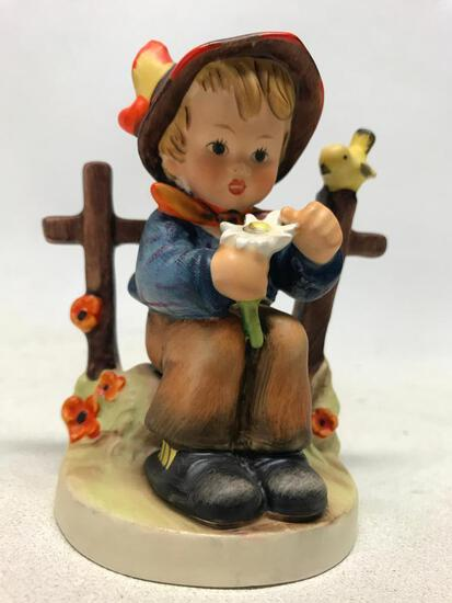 Hummel Figurine: Boy Picking Daisies By Fence