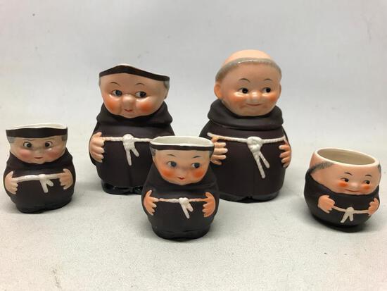 "Goebel Figural ""Friar Tuck"" Cream & Sugar, (2) Tobies, & Tooth Pick Holder"