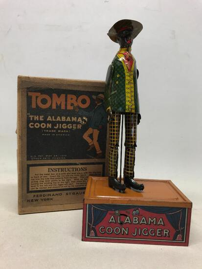 "1910 ""Tombo The Alabama Coon Jigger"" Wind-Up Toy In Original Box"