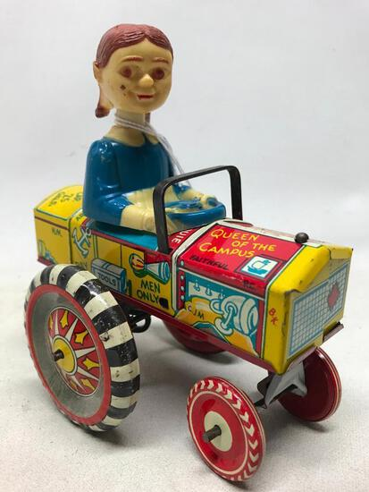 Vintage Linemar Tin Wind-Up Of Bobble Head Girl On Tractor