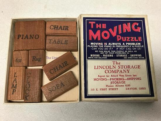 """Vintage Dayton, Ohio """"Moving Puzzle"""" Game From Lincoln Storage"""
