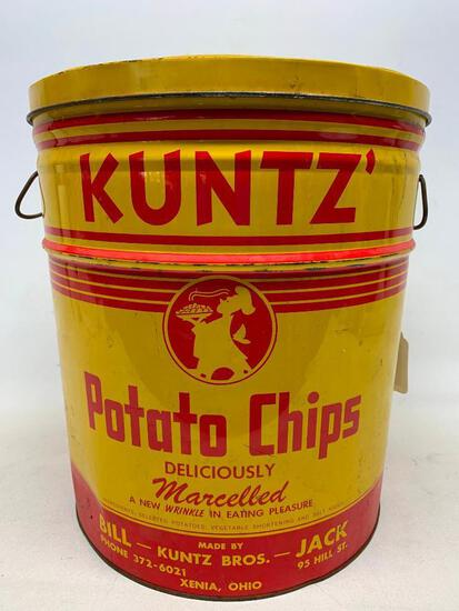 Vintage Kuntz' 4 Lb. Potato Chip Can W/Lid From Xenia, Ohio