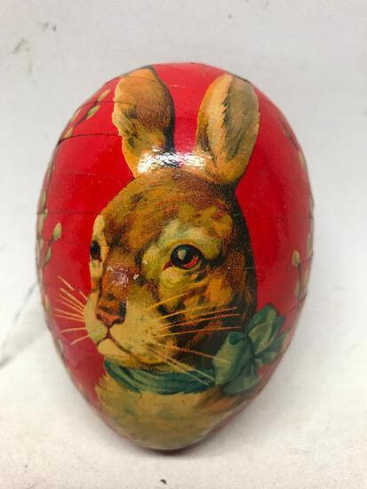 Vintage Paper Mache' Egg W/Rabbit